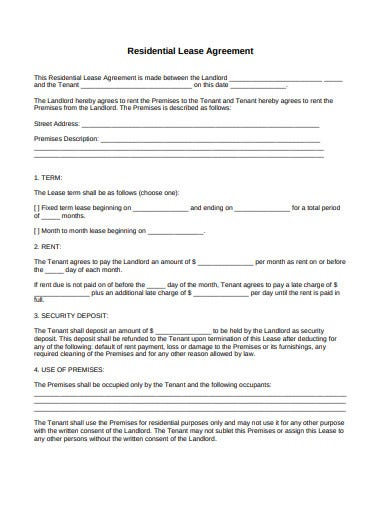 simple residential lease agreement template