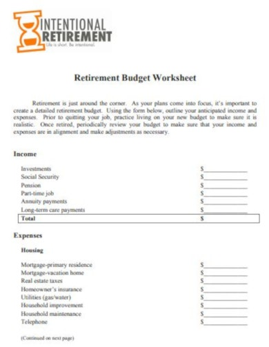 simple retirement budget template
