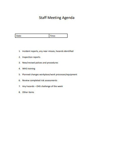 16  staff meeting agenda templates in word