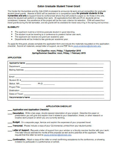 simple travel grant proposal template