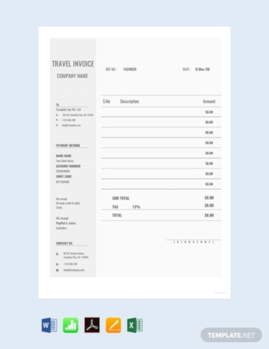 simple travel invoice template