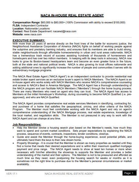 simple in house real estate agent job description template