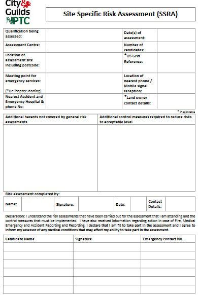 site specific risk assessment sample