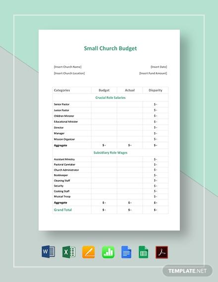 small church budget template