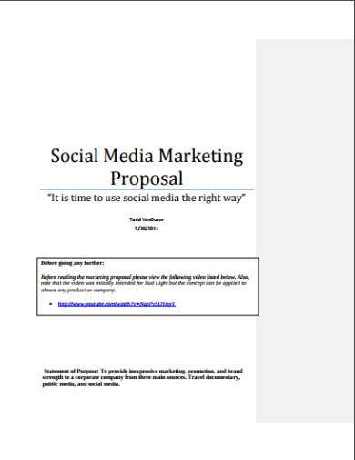 social media marketing proposal sample