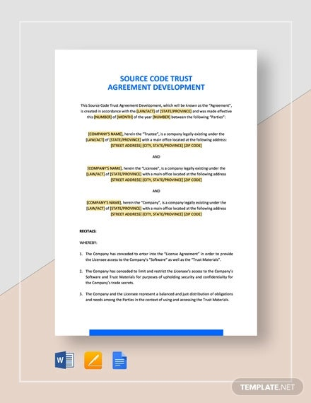 source code trust agreement development template