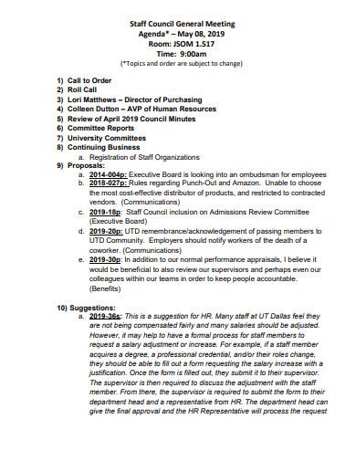 staff general meeting agenda template