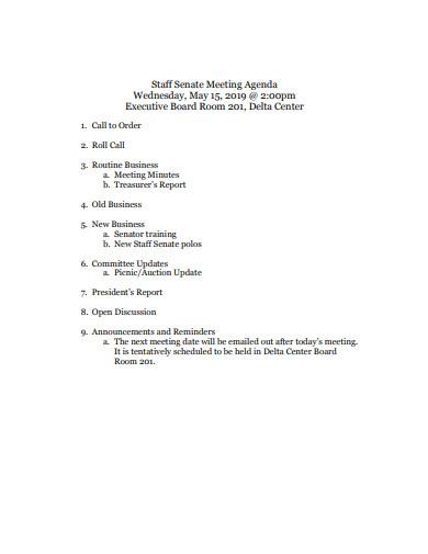 staff meeting agenda format