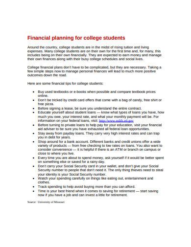 standard college financial plan template