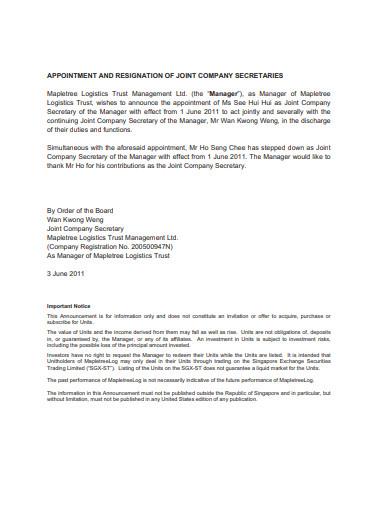 standard-company-secretary-resignation-format
