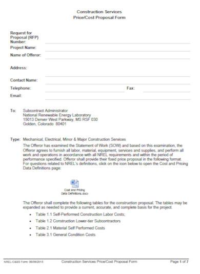 standard construction bid proposal template