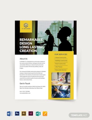 standard construction flyer template