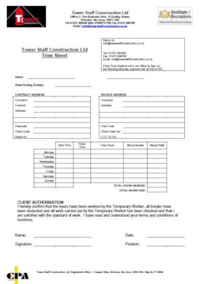 standard construction timesheet template