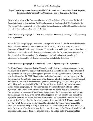 standard declaration agreement example