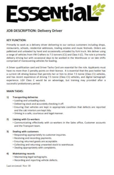standard driver job description template