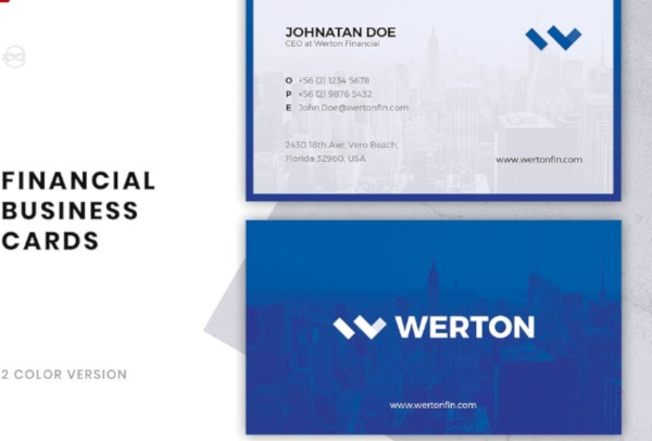 standard financial services business card template