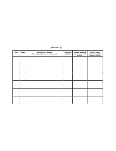 standard incident log template