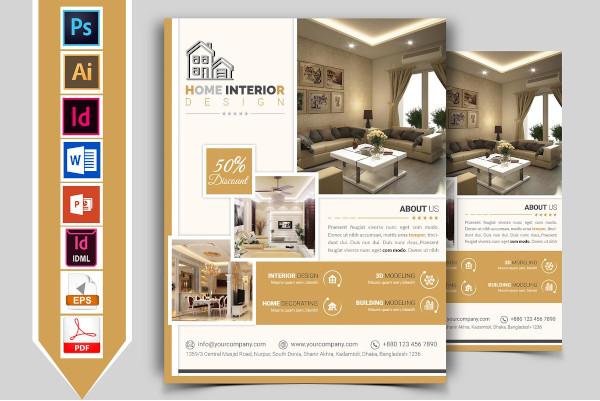standard interior design service flyer template
