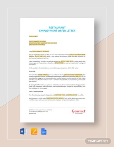 standard job offer letter template