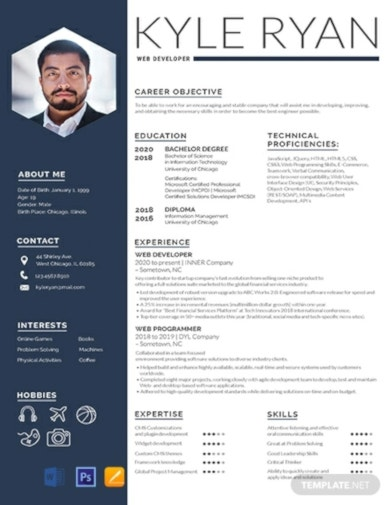 standard job resume template
