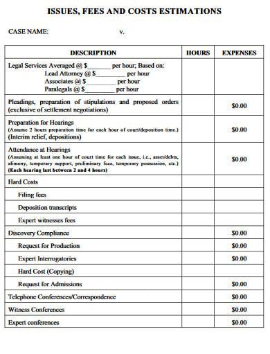 standard law budget template