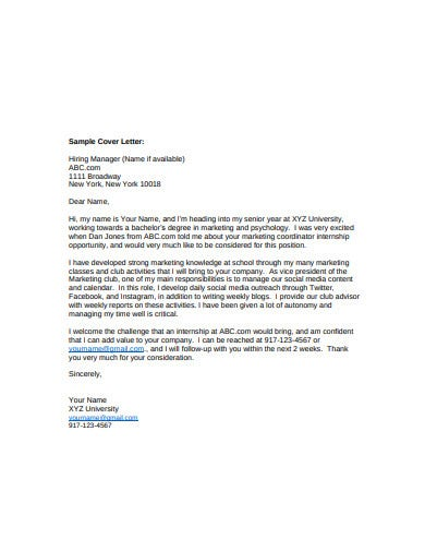 standard marketing cover letter template