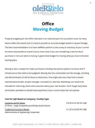 standard office moving budget