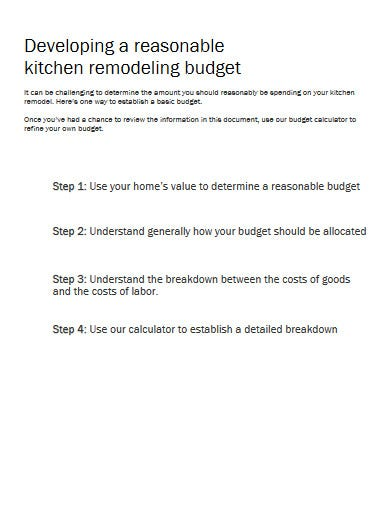 standard renovation budget template