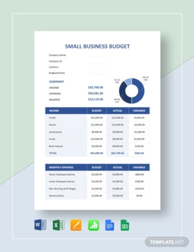 standard small business budget template