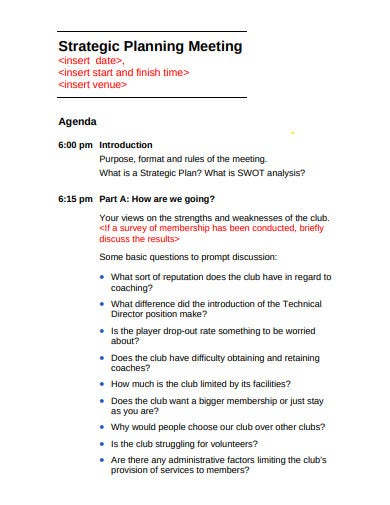 standard strategic planning meeting agenda template