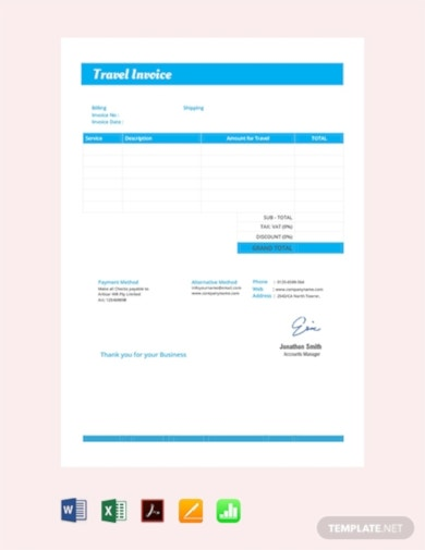 standard travel invoice template
