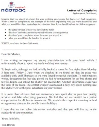 standard travel letter of complaint