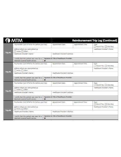 standard travel reimbursement log template