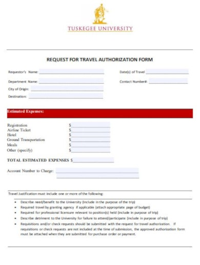 standard travel request form template