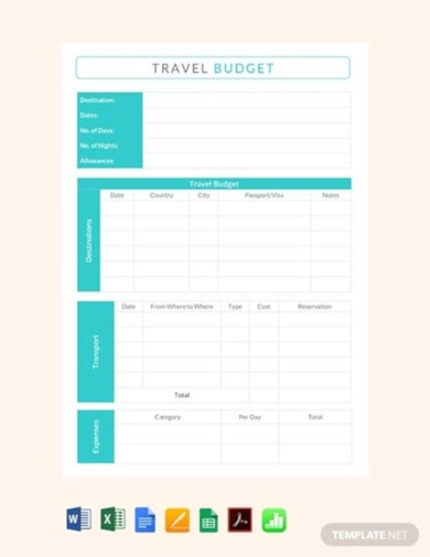 standard vacation budget template
