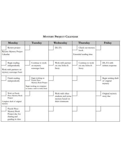 standard project calendar template