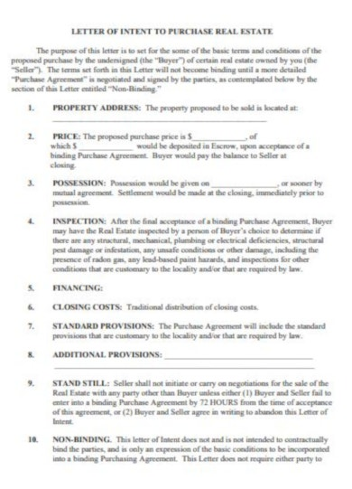 standard real estate letter of intent template2