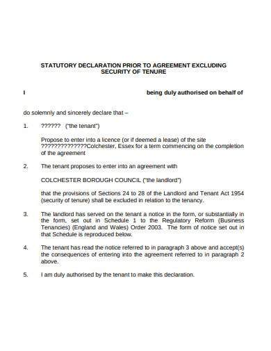 statutory declaration agreement template