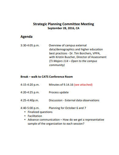strategic planning committee meeting agenda