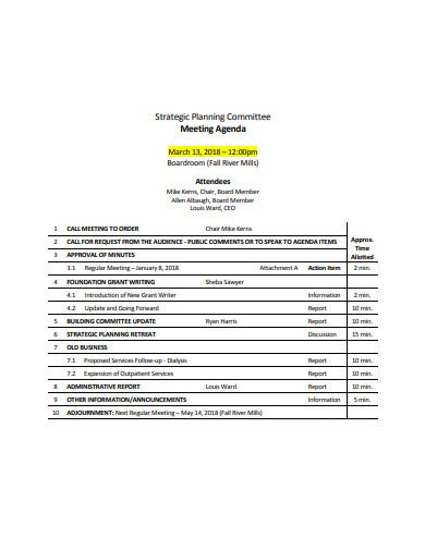 strategic planning meeting agenda in pdf