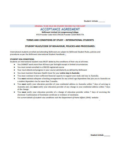 student acceptance agreement template