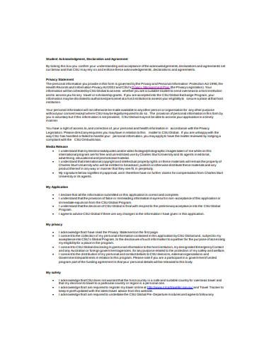 student declaration agreement in pdf