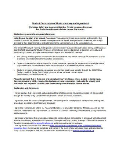 student declaration agreement