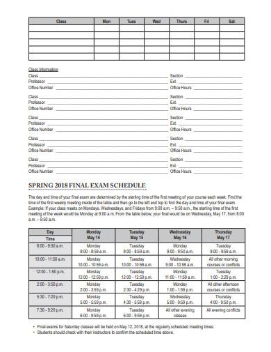 student planner hand book sample