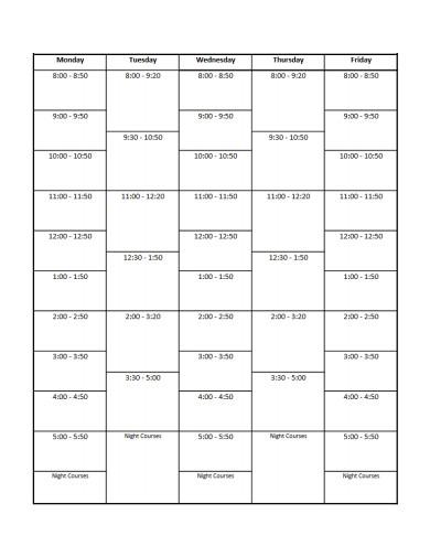 student schedule planner sheet template