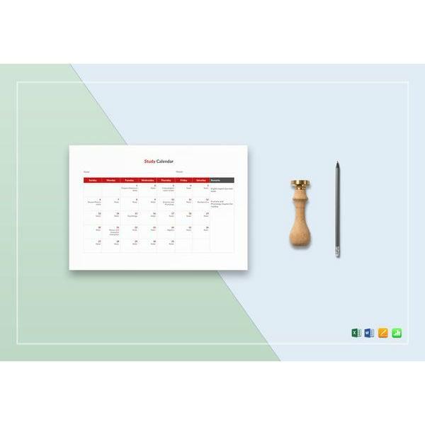 study calendar template1