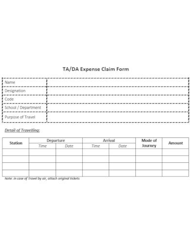 summarized travelling and dearness allowance claim form template