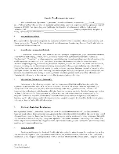 supplier non disclosure agreement template