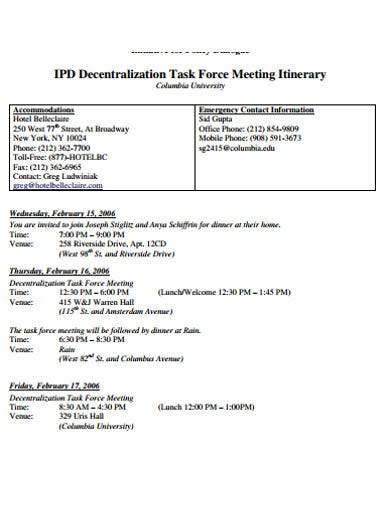task meeting itinerary example