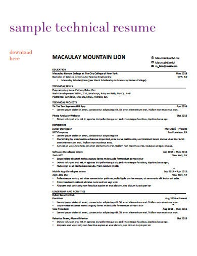 technical college resume template
